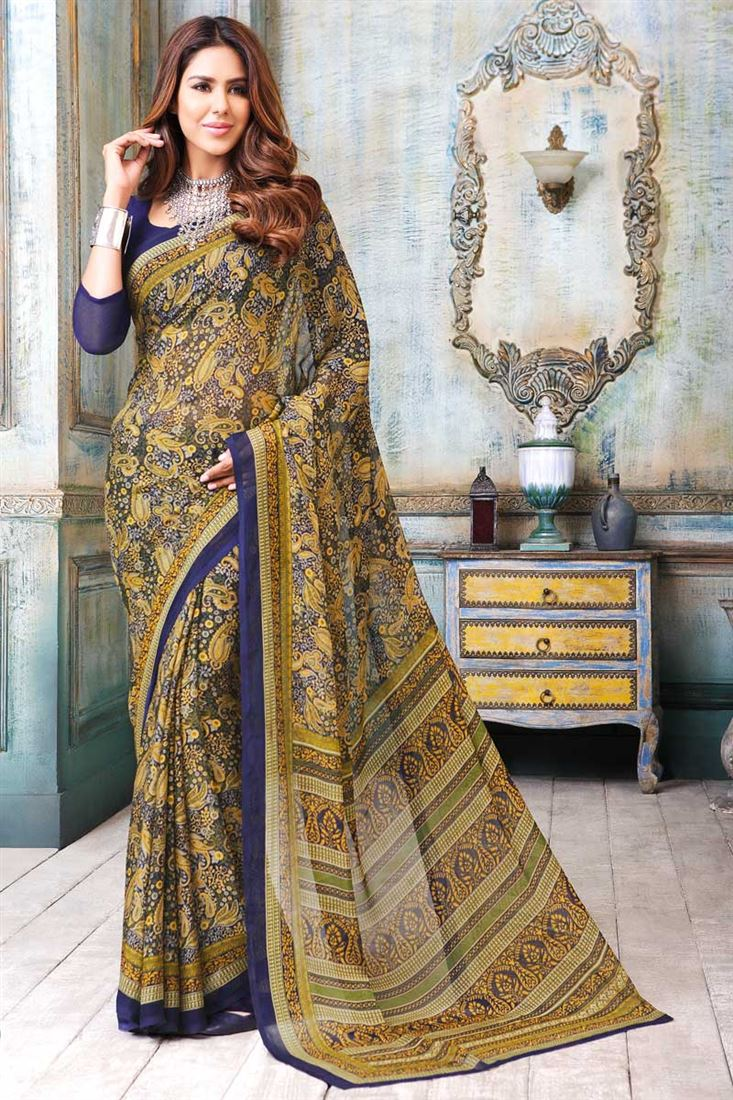 Printed Party Wear Chiffon Saree by SareesBazaar