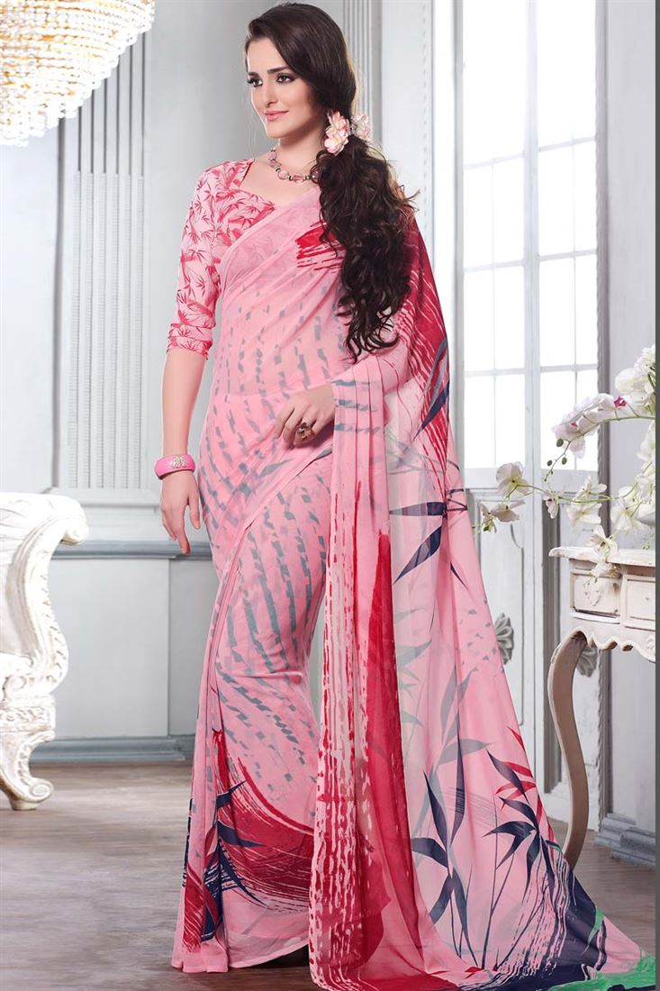 Printed Party Wear Georgette Saree at Best Price from SareesBazaar