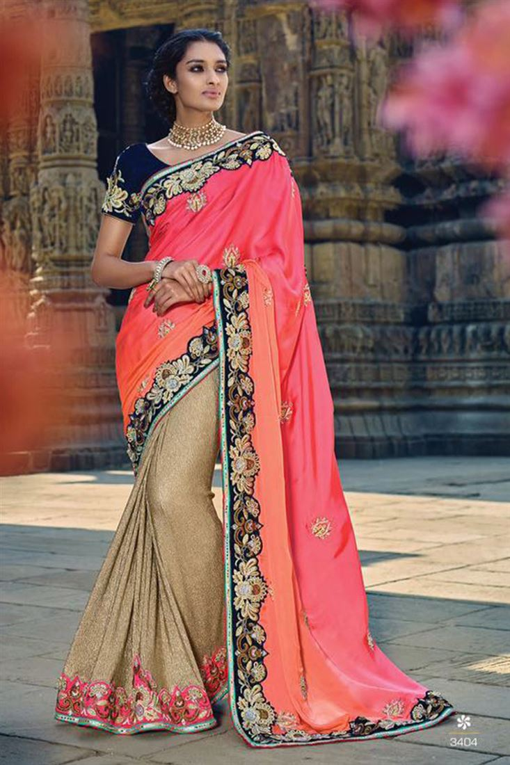 Beige & Pink Color Wedding Wear Designer Saree