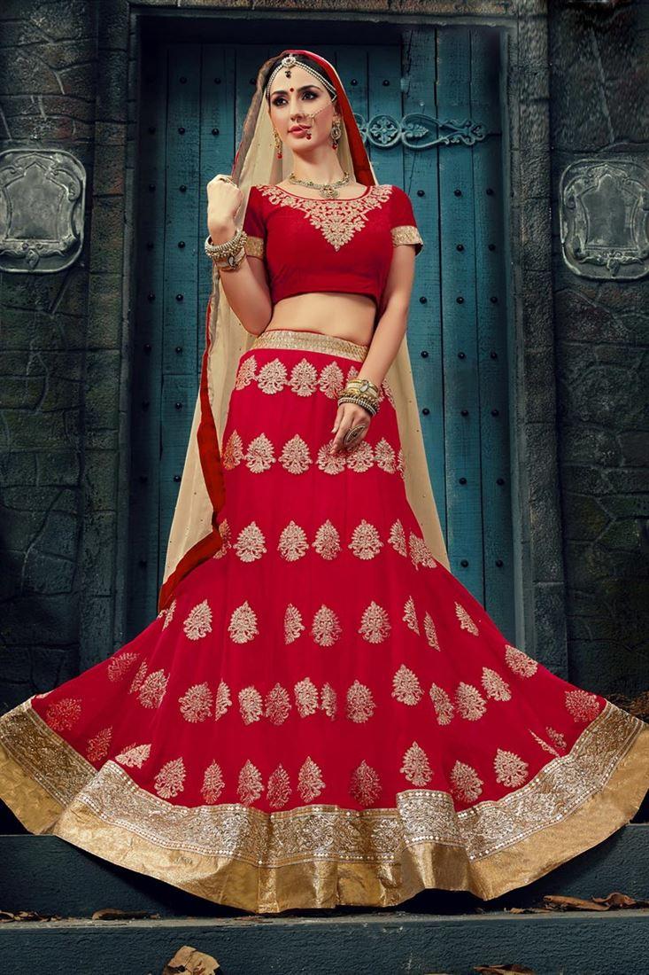 Red Wedding Wear Lehenga with Velvet Choli