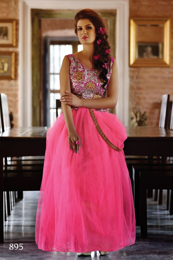 Pink Color Evening Party Wear Net Gown