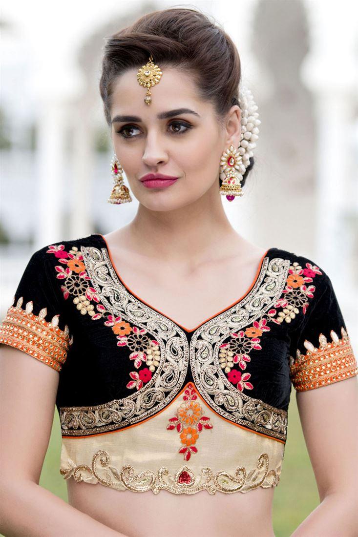 Black and Cream Color Designer Koti Style Velvet & Art Silk Blouse