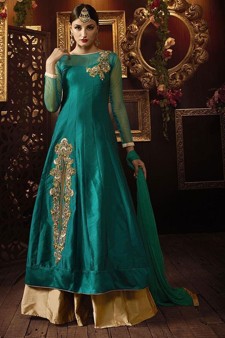 Teal Color Sharara Top Silk Lehenga for Festivals