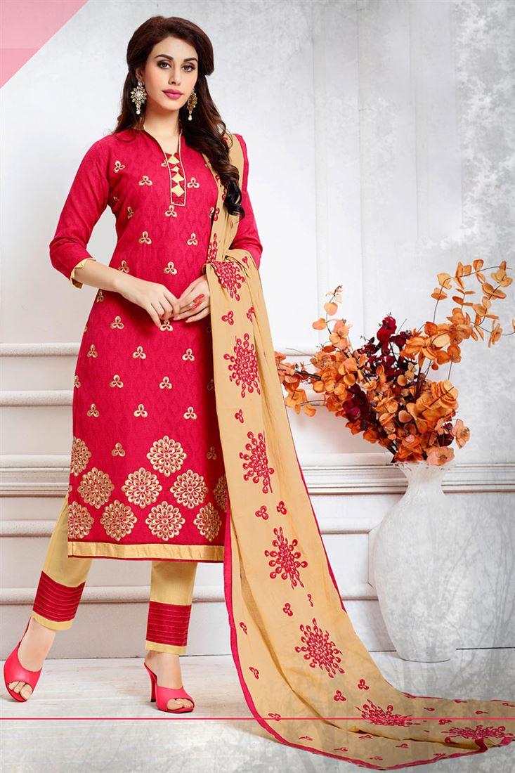 Pink Color Casual Wear Cotton Salwar Kameez