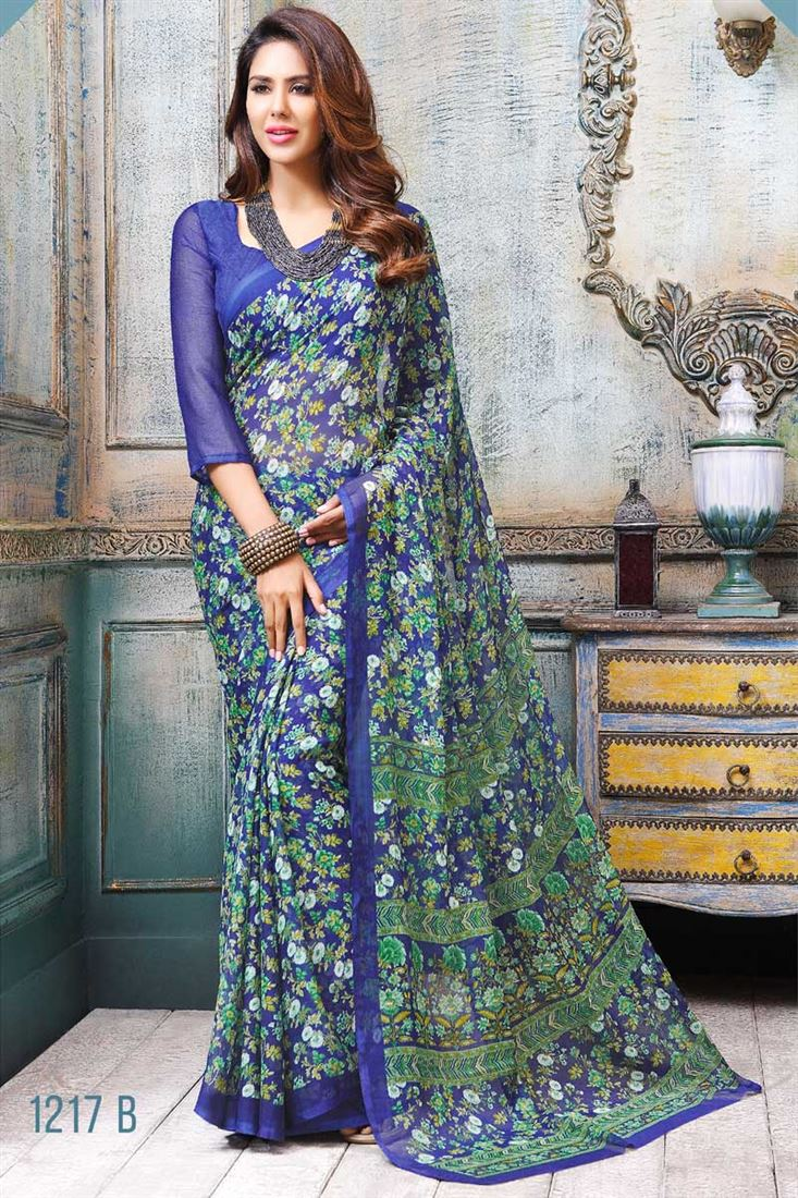 Green-Blue Formal Wear Printed Chiffon Saree