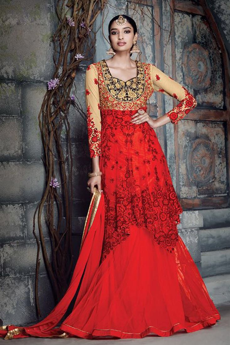 Red-Cream Long Length Embroidered Anarkali Suit