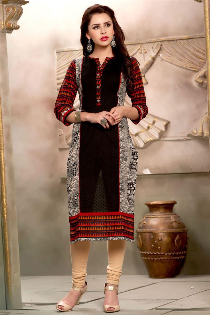 Black Long Length Printed Cotton Kurti