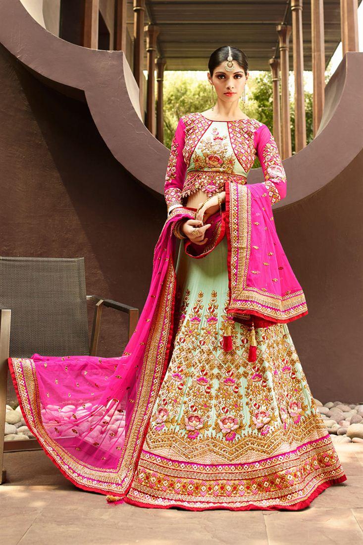 Alluring Green Color Wedding Bridal Embroidered Lehenga Choli
