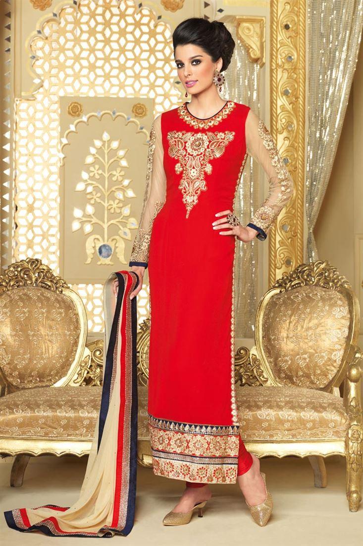 Long Length Straight Cut Georgette Salwar Kameez