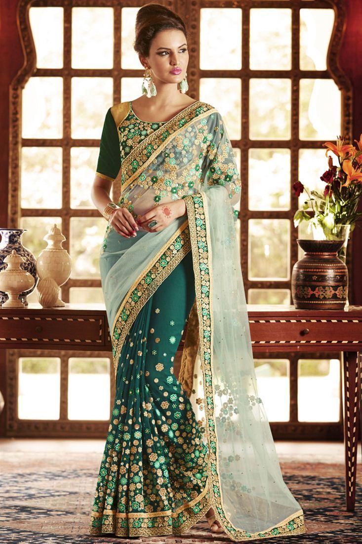 Heavy Designer Saree with Blouse from SareesBazaar