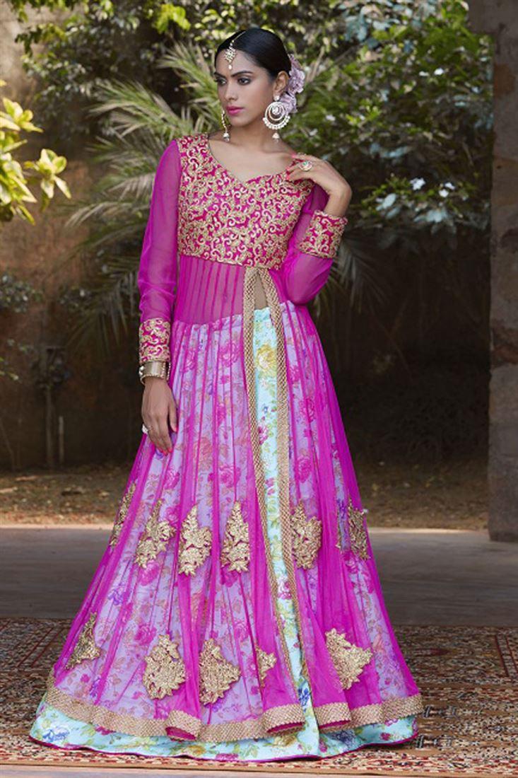 Pink-Sky Blue Color Wedding Wear Designer Satin Embroidered Lehenga Choli