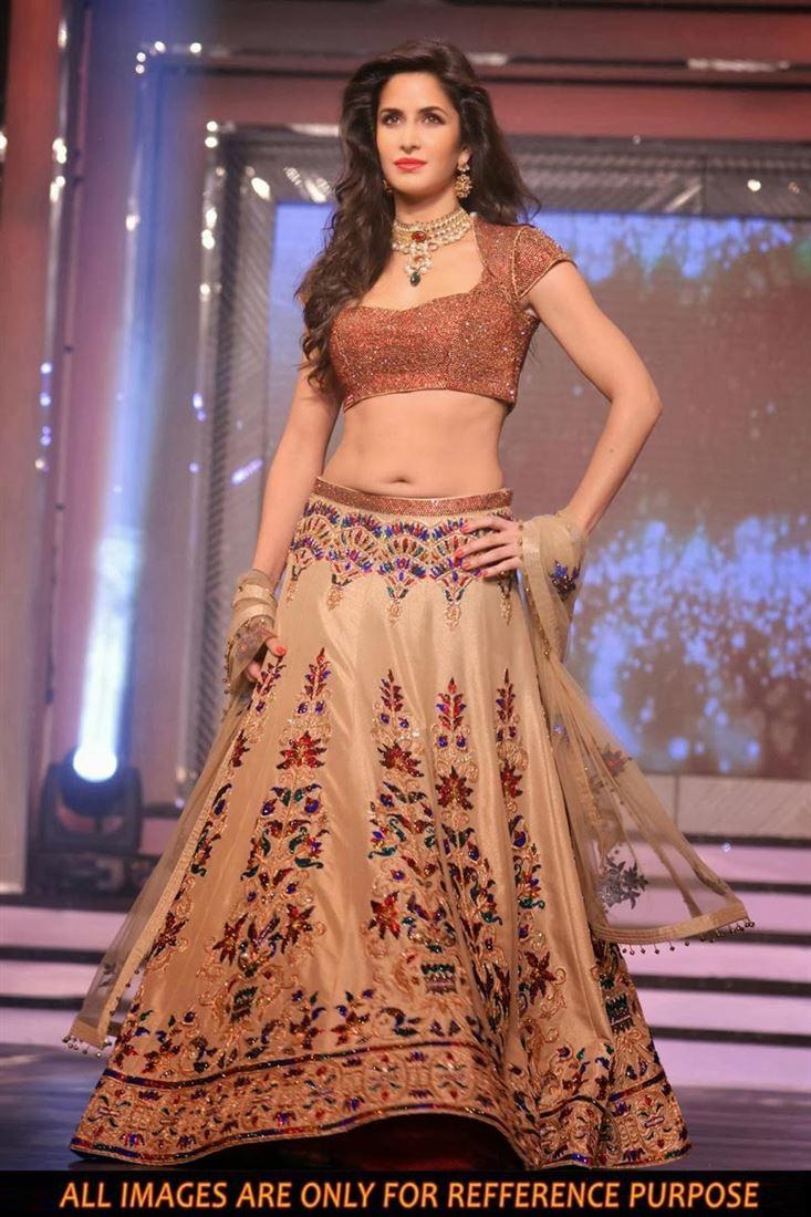 Katrina Kaif Beige Color Net Replica Lehenga Choli