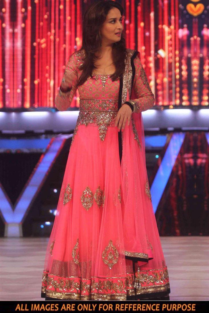 Pink Color Madhuri Dixit Net Replica Salwar Kameez