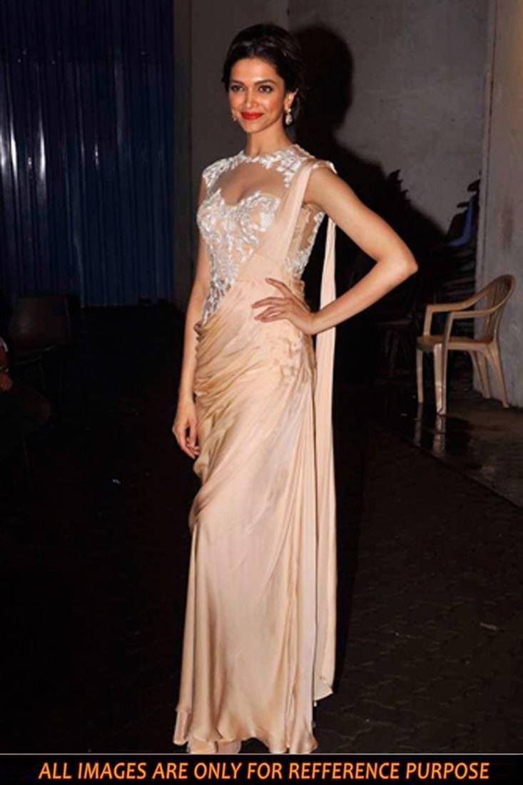Deepika Padukone Beige Color Chiffon Replica Saree
