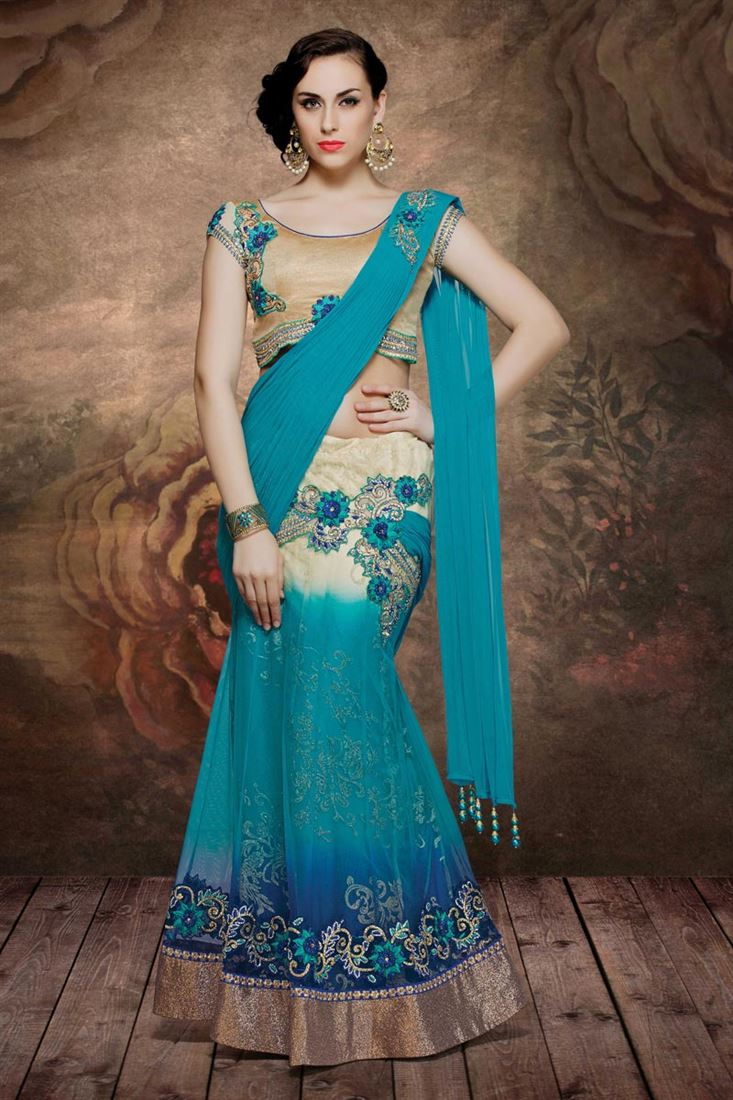 Beige-Turquoise Color Designer Net-Shimmer Fabric Lehenga Saree with Embroidery