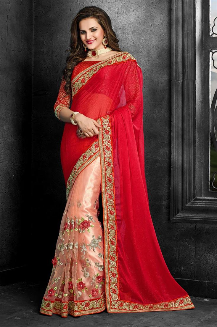 Embroidered Designer Chiffon-Net Saree in Red-Peach Color