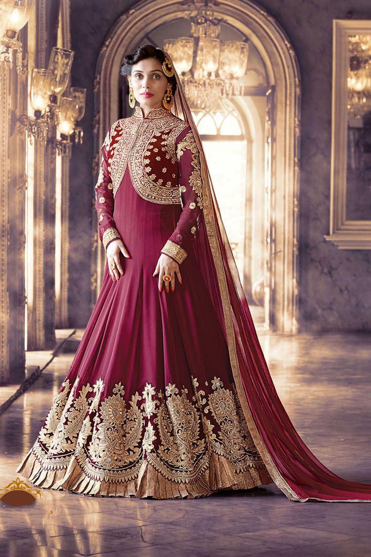 Maroon Color Georgette Anarkali Salwar Kameez with Embroidery Work