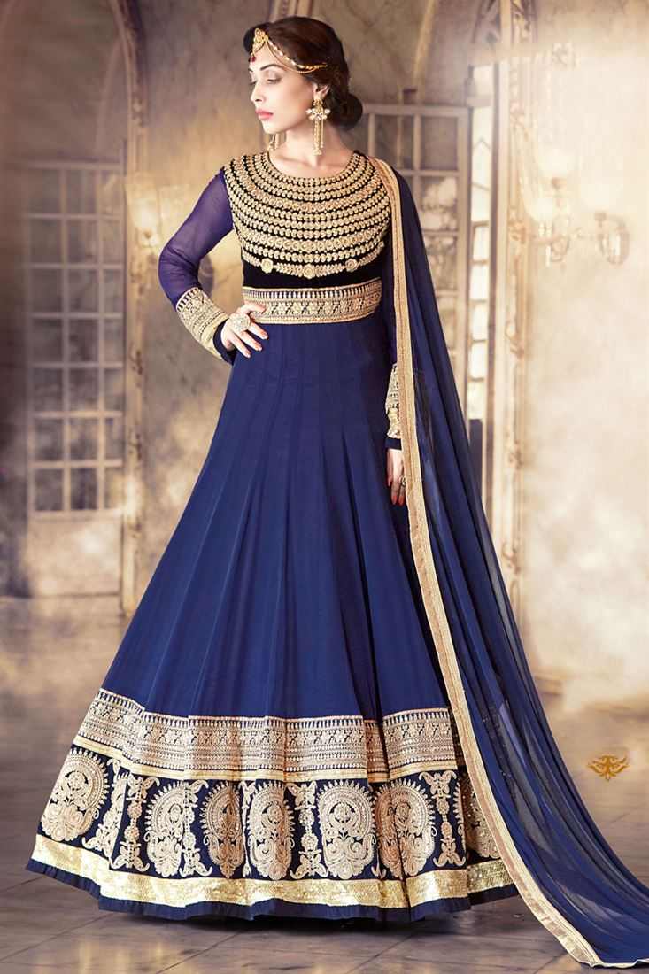 Blue Color Occasional Wear Georgette Anarkali Salwar Suit with Embroidery