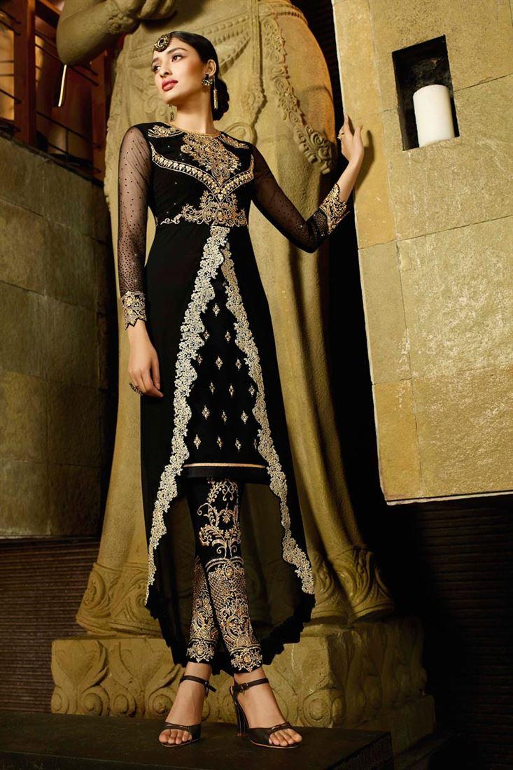 Black Color Designer Georgette Salwar Suit with Work