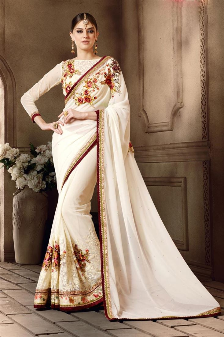 White Color Festive Wear Embroidered Georgette-Bemberg Saree