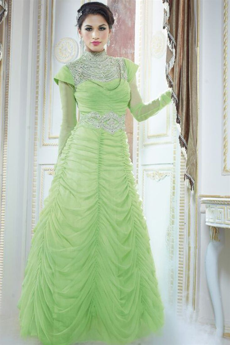 Endearing Green Color Evening Party Wear Georgette Gown