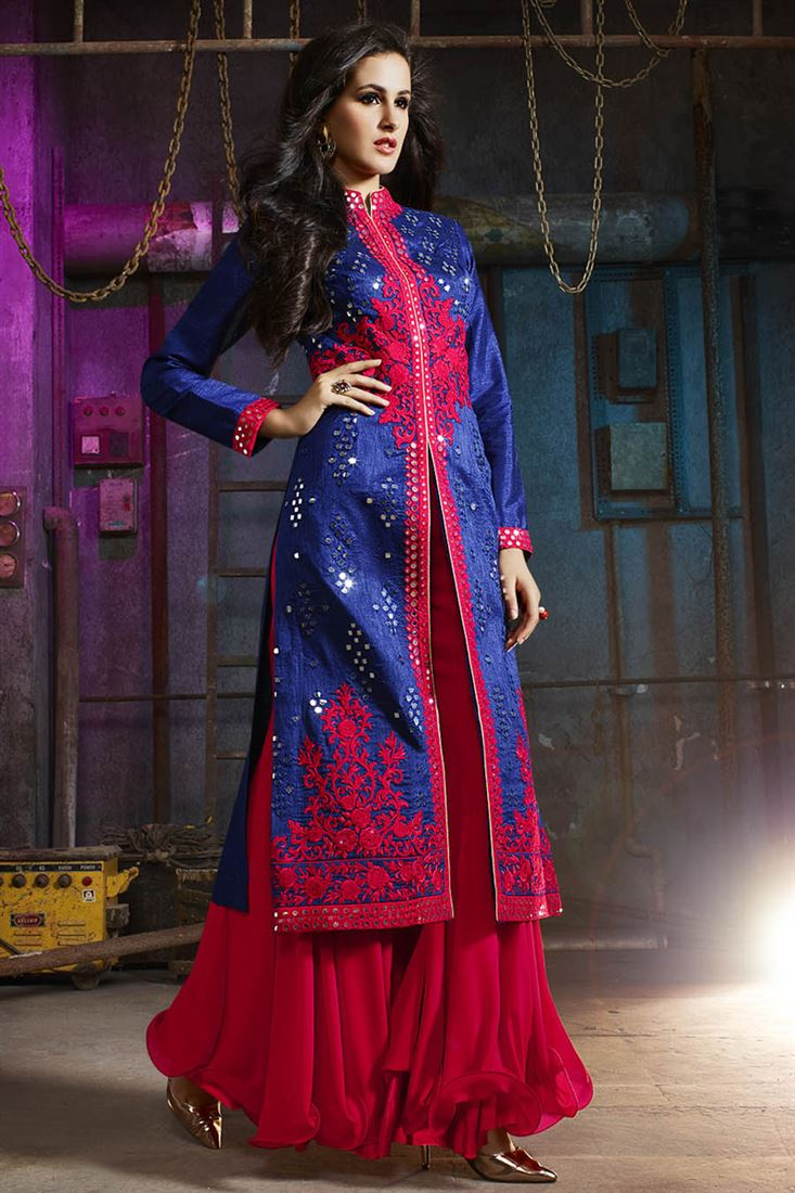 Blue Color Embroidered Palazzo Suit with Embroidery from SareesBazaar