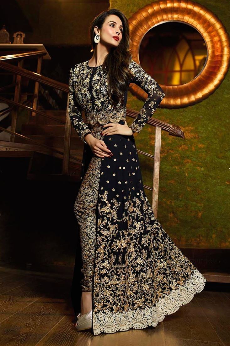 c33c0cd223d Malaika Arora Georgette Salwar Kameez in Black Color with Embroidery
