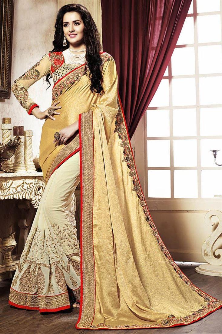 Cream And Golden Color Wedding Wear Designer Half N Half Saree in Georgette Fabric
