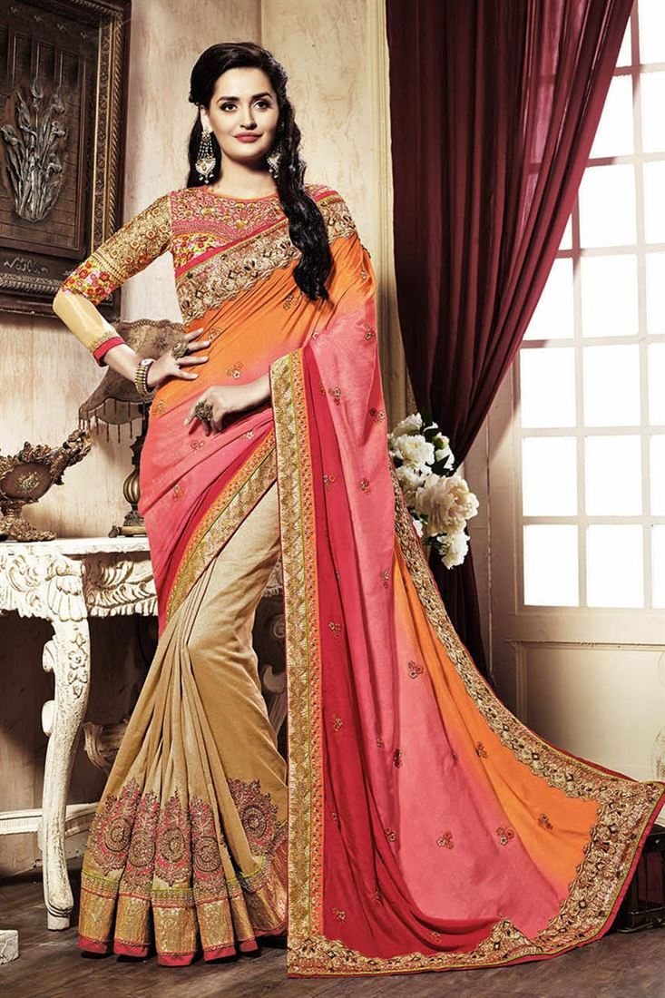 Silk And Banarasi Fabric Embroidered Half N Half Designer Saree in Beige And Orange Color