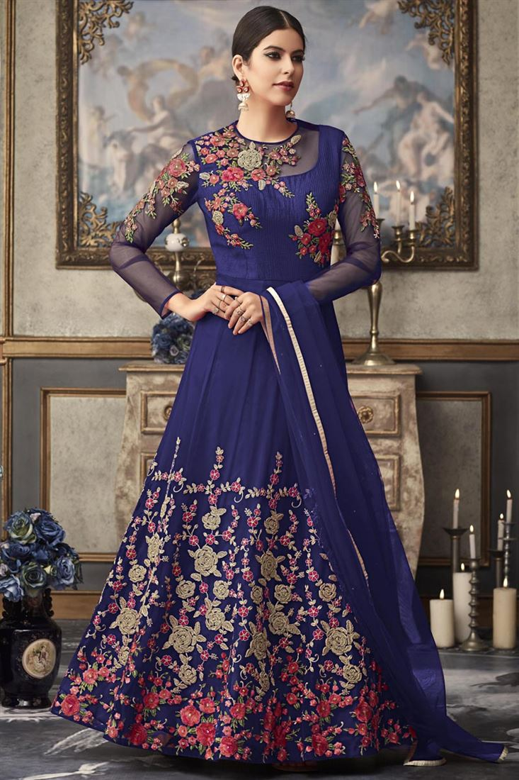 Blue Party Style Designer Embroidered Net Fabric Long Length Anarkali Suit