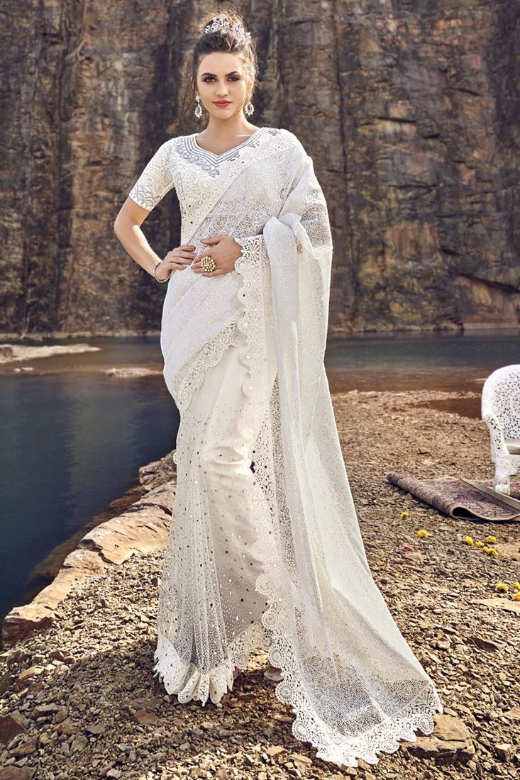 Occasion Wear Designer Net Fabric Embroidered White Color Saree