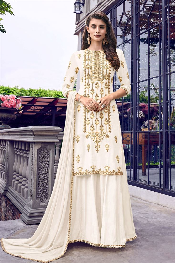 Cream Color Embroidered Sharara Palazzo Salwar Kameez In Georgette Fabric
