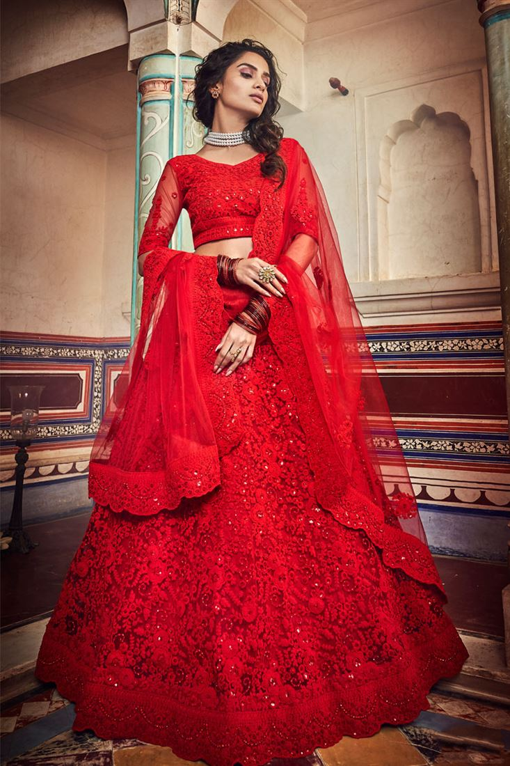 Exclusive Net Fabric Designer Bridal Lehenga With Embroidery Work On Red Color
